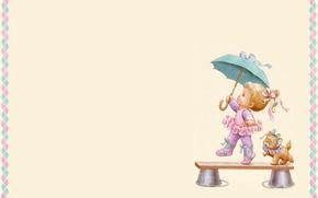 Picture umbrella, art, girl, kitty, children's