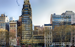 Picture windows, USA, United States, trees, New York, Manhattan, NYC, New York City, buildings, architecture, skyscrapers, …