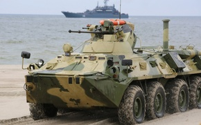 Wallpaper Army, Military, Ship, Russia, BTR-82, Baltic, Sea, Navy