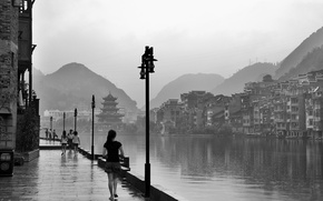 Picture China, girl, river, rain, National Geographic, photos, hill, houses, black and white, Fred Wang