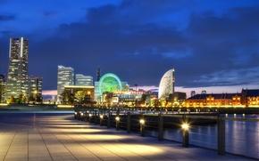Picture night, lights, Japan, port, Bay, Japan, promenade, megapolis, Yokohama, Yokohama
