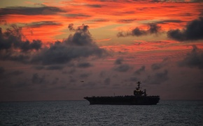 Picture sea, night, army, nimitz-class aircraft carrier USS John C. Stennis (CVN 74)
