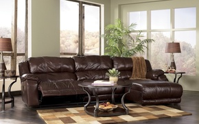 Picture living room, glamorous, dark leather couch