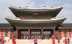 Picture roof, people, the building, temple, architecture, structure, South Korea, Gyeongbokgung