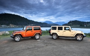 Wallpaper landscape, beautiful, mountains, Jeep-Wrangler-2011, SUVs, clouds