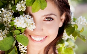 Picture eyes, look, leaves, girl, joy, flowers, nature, face, smile, background, Wallpaper, mood, laughter, positive, brunette, ...