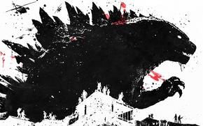 Wallpaper soldier, art, Godzilla