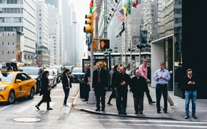 Picture United States, New York, people, streets, skyscrapers, cityscape, traffic lights, urban scene, crosswalks