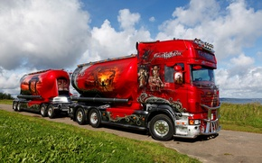 Picture truck, airbrushing, tractor, Scania, R620