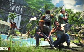 Picture sea, grass, bridge, palm trees, weapons, fire, fire, game, weapon, multiplayer, Far cry