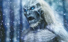 Picture zombie, ice, soldier, armor, blizzard, immortal, blue eyes, snow, man, north, face, death, A Song …