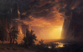 Picture clouds, landscape, mountains, rocks, picture, Albert Bierstadt, Sunset in the Yosemite Valley