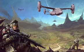 Picture warrior, Sci FI, big gun, equipment, automatic, soldier, pearls, mountains, helicopter