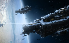 Picture space, planet, ships, the atmosphere, art, Armada