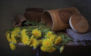 Picture dishes, dandelions, clay
