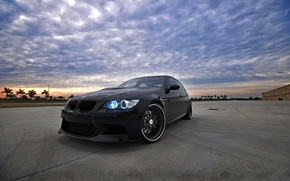 Picture the sky, clouds, sunset, palm trees, black, bmw, BMW, black, sky, sunset, e90