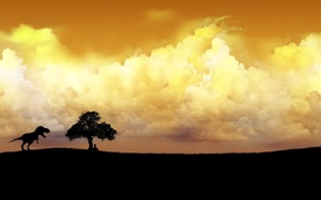 Picture the sky, grass, clouds, tree, people, dinosaur
