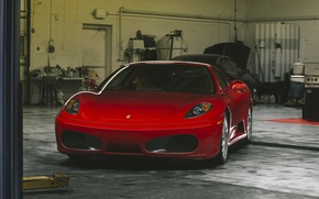 Picture red, ferrari, f430, garage