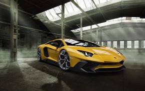 Picture car, machine, Lamborghini, wallpaper, auto, yellow, beautiful, the front, Aventador, Novitec, Torado, LP 750-4