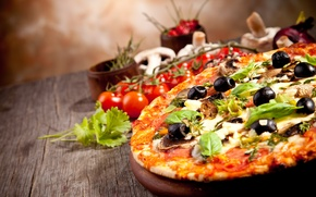 Picture mushrooms, food, cheese, pizza, tomatoes, parsley, dish, olives