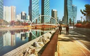 Picture car, skyline, sky, bridge, South Korea, water, people, reflection, buildings, skyscrapers, Korea, Incheon, Songdo Dong, …
