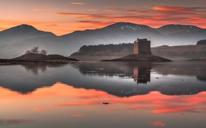 Picture forest, reflection, landscape, sunset, mountains, castle, tower, pond, Wallpaper from lolita777