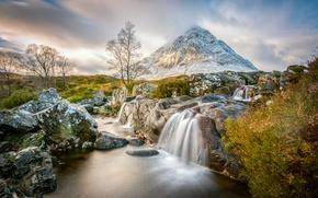 Picture clouds, stones, mountain, stream, Scotland, Badlands Etive Mòr, Scottish highlands