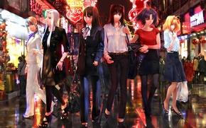 Picture night, the city, lights, girls, street, ryougi shiki, saber, fate zero, iris a lot of …
