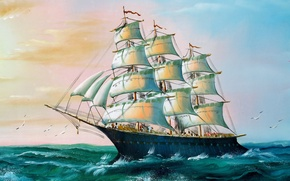 Picture Sea, Figure, Birds, Ship, Sailboat, Day, Seagulls, Painting, Side view