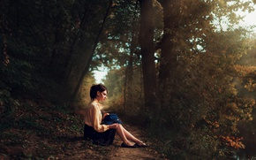 Picture forest, girl, shoes, trees, landscape, river, green, sweetheart, skirt, hat, brunette, hairstyle, track, blouse, light, …