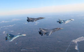 Wallpaper fighters, Flanker, Su-27, The MiG-31, pairs