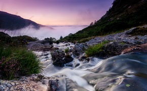 Picture morning, mountains, fog, UK, stream, Wales, landscape, river, stones