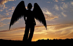 Wallpaper Angel, silhouette, sunset