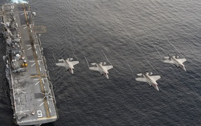 Wallpaper weapons, army, F-35B, amphibious assault ship USS America (LHA 6)