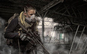 Picture weapons, the ruins, girl, assault rifle, optics
