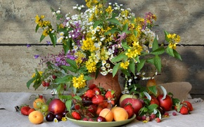 Picture flowers, luxury, strawberries, berries, raspberry, plum, grapes, pitcher, strawberry, bouquet, cherry, apricots, Apple, still life, ...