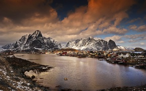 Picture winter, mountains, Norway, Bay, the village