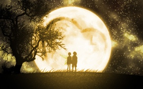 Picture tree, the moon, pair