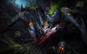 Picture eyes, web, art, spider, Dota 2, Broodmother