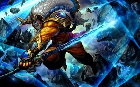 Picture weapons, sword, warrior, mask, art, Dota 2, Juggernaut, Yurnero