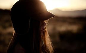 Picture girl, the sun, face, background, widescreen, Wallpaper, mood, hat, blur, silhouette, girl, profile, wallpaper, widescreen, …