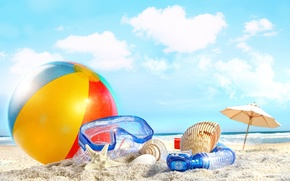 Picture summer, beach, sky, sea, nature, clouds, sand, ball, shells