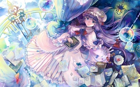 Picture girl, planet, books, anime, art, touhou, patchouli knowledge, letters, gene e book