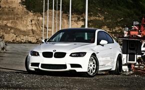 Picture white, rocks, bmw, shadow, BMW, white, front view, e92