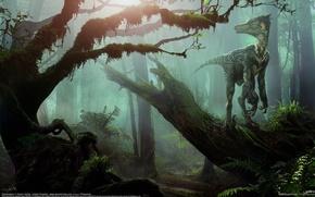 Picture forest, dinosaur, Daren Horley, VelociRaptor