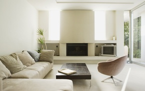 Picture flowers, design, Palma, room, Windows, interior, space, fireplace