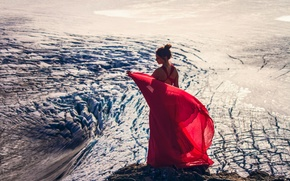 Picture girl, glacier, Alaska, Alaska, red dress, Kenai Fjords National Park, Harding Icefield, Kenai Mountains, Kenai …