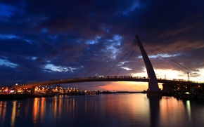 Picture night, bridge, the city, lights, river, people, ships, yachts, New Taipei City
