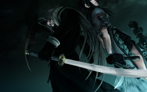 Picture girl, sword, guy, Final Fantasy, Sephiroth