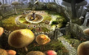 Picture flowers, mushrooms, gate, Alice in Wonderland, Tim Burton